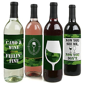 Camo Hero - Army Military Camouflage Birthday Party Decorations for Women and Men - Wine Bottle Label Stickers - Set of 4