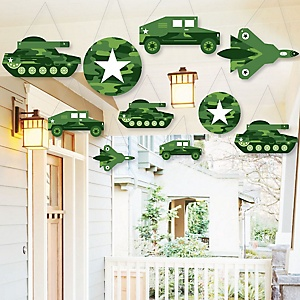 Hanging Camo Hero - Outdoor Army Military Camouflage Party Hanging Porch and Tree Yard Decorations - 10 Pieces