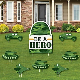 Camo Hero - Yard Sign and Outdoor Lawn Decorations - Army Military Camouflage Party Yard Signs - Set of 8