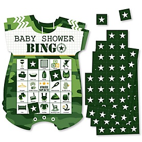 Camo Hero - Picture Bingo Cards and Markers - Army Military Camouflage Baby Shower Shaped Bingo Game - Set of 18