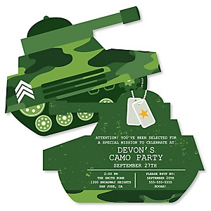 Camo Hero - Shaped Army Military Camouflage Baby Shower invitations - Set of 12
