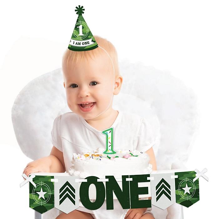 Camo Hero 1st Birthday - First Birthday Boy or Girl Smash Cake Decorating Kit - High Chair Decorations
