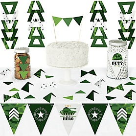 Camo Hero - DIY Pennant Banner Decorations - Army Military Camouflage Party Triangle Kit - 99 Pieces