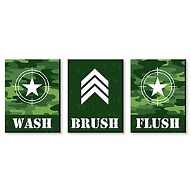 Camo Hero - Kids Bathroom Rules Wall Art - 7.5 x 10 inches - Set of 3 Signs - Wash, Brush, Flush