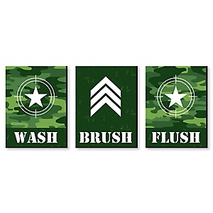 "Camo Hero - Kids Bathroom Rules Wall Art - 7.5"" x 10"" - Set of 3 Signs - Wash, Brush, Flush"
