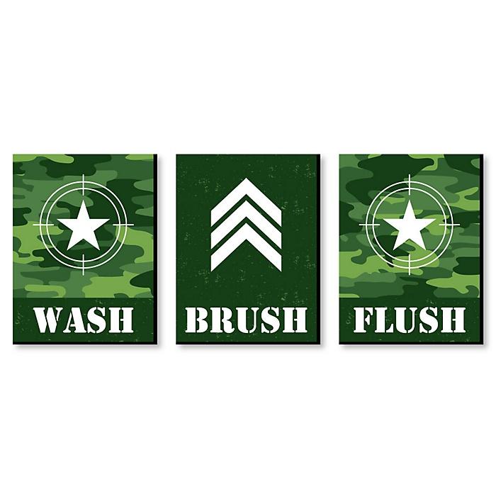 Camo Hero - Kids Bathroom Rules Wall Art - 7.5 x 10 inches - Set of 3 Signs - Wash, Brush, Flush