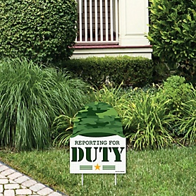 Camo Hero - Outdoor Lawn Sign - Army Military Camouflage Party Yard Sign - 1 Piece