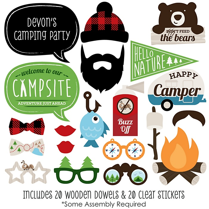 Happy Camper - 20 Piece Camping Photo Booth Props Kit