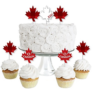 Canada Day - Dessert Cupcake Toppers - Canadian Party Clear Treat Picks - Set of 24