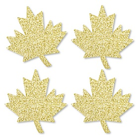 Gold Glitter Maple Leaf - No-Mess Real Gold Glitter Cut-Outs - Canada Day Confetti - Set of 24