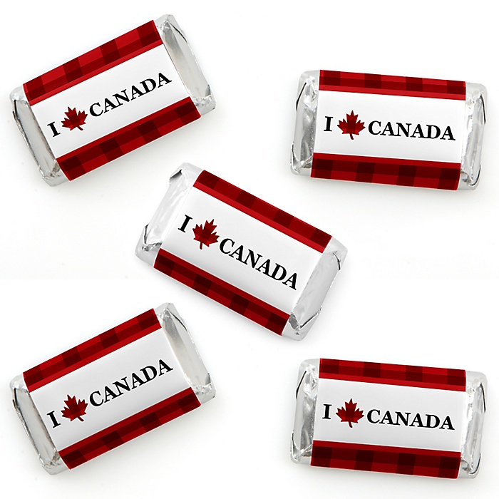 Canada Day - Mini Candy Bar Wrapper Stickers - Canadian Party Small Favors - 40 Count