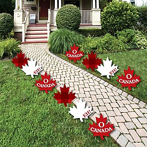 Canada Day - Maple Leaf Lawn Decorations - Outdoor Canadian Party Yard Decorations - 10 Piece