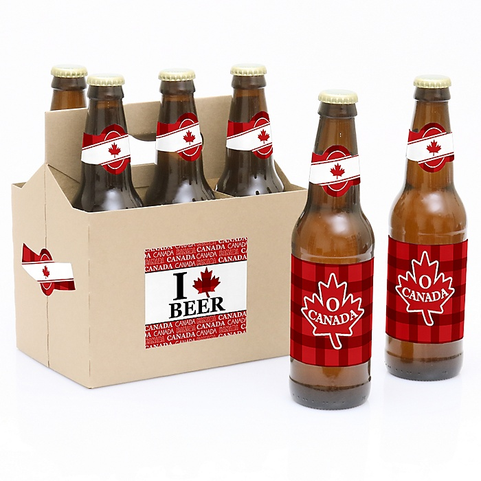 Canada Day - Decorations for Women and Men - 6 Canadian Party Beer Bottle Label Stickers and 1 Carrier