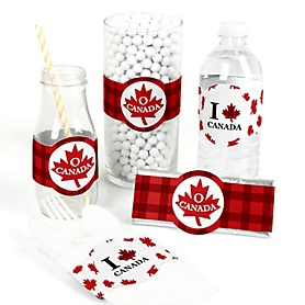 Canada Day - DIY Party Supplies - Party DIY Wrapper Favors & Decorations - Set of 15