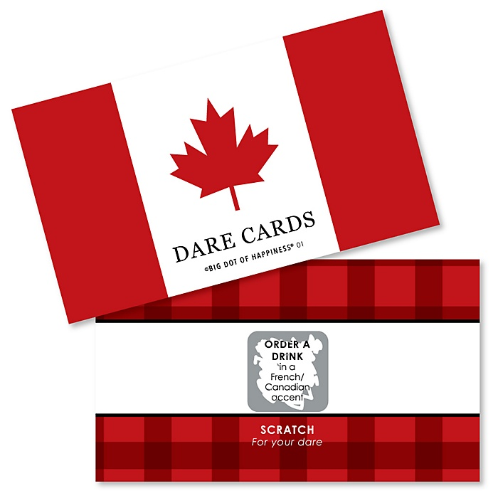 Canada Day - Canadian Party Scratch Off Dare Cards - 22 Count