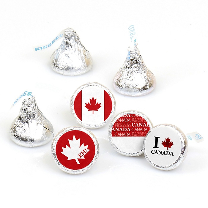Canada Day - Canadian Party Round Candy Sticker Favors - Labels Fit Hershey's Kisses - 108 ct