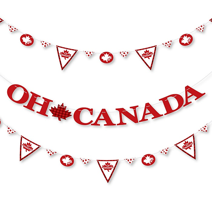 Canada Day - Canadian Party Letter Banner Decoration - 36 Banner Cutouts and Oh Canada Banner Letters