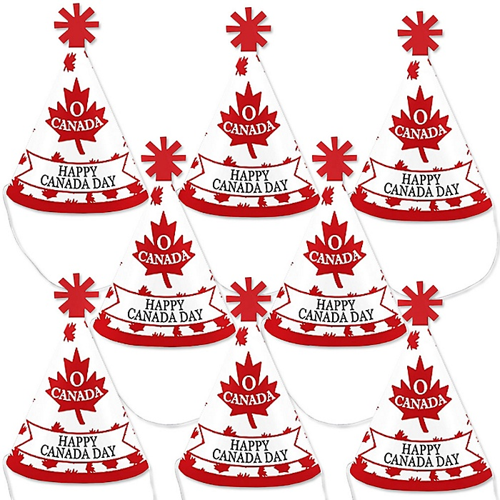 Canada Day - Mini Cone Canadian Party Hats - Small Little Party Hats - Set of 8