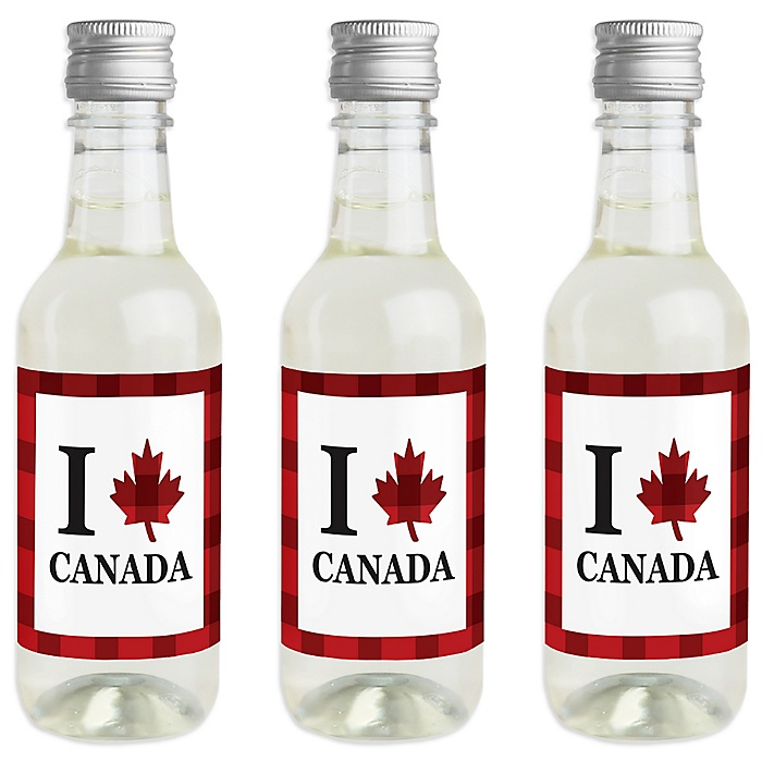 Canada Day - Mini Wine and Champagne Bottle Label Stickers - Canadian Party Favor Gift for Women and Men - Set of 16