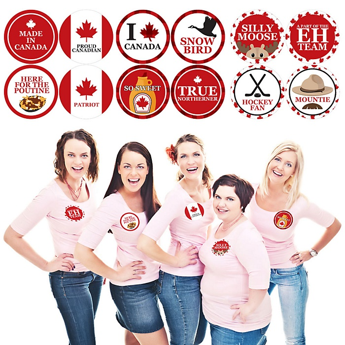 Canada Day - Canadian Party Name Tags - Party Badges Sticker Set of 12