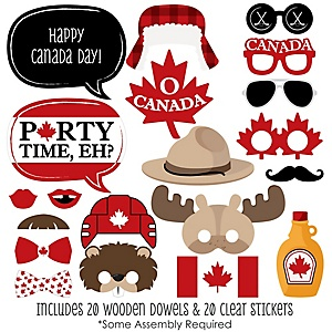 Canada Day - 20 Piece Photo Booth Props Kit