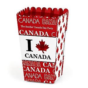 Canada Day - Personalized Canadian Party Popcorn Favor Treat Boxes - Set of 12