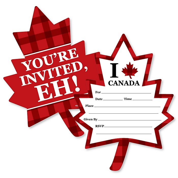 Canada Day - Shaped Fill-In Invitations - Canadian Party Invitation Cards with Envelopes - Set of 12