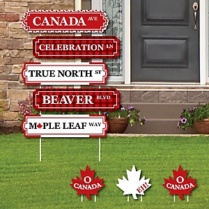 Canada Day - Street Sign Cutouts - Canadian Party Yard Signs & Decorations - Set of 8