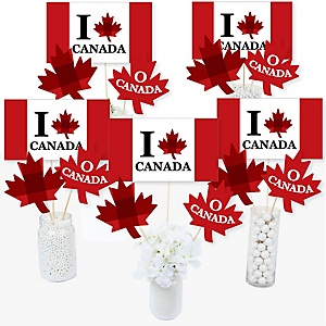 Canada Day - Canadian Party Centerpiece Sticks - Table Toppers - Set of 15