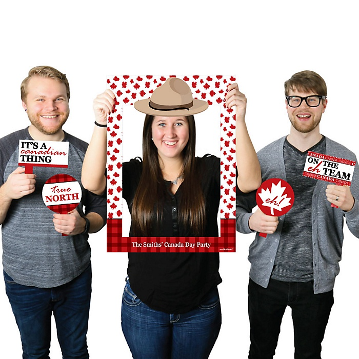 Canada Day - Personalized Canadian Party Selfie Photo Booth Picture Frame & Props - Printed on Sturdy Material