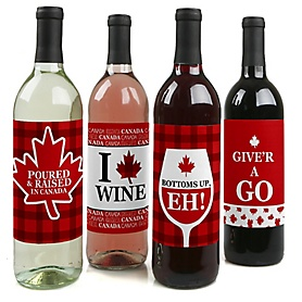 Canada Day - Canadian Party Decorations for Women and Men - Wine Bottle Label Stickers - Set of 4