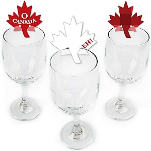 Canada Day - Shaped Canadian Party Wine Glass Markers - Set of 24