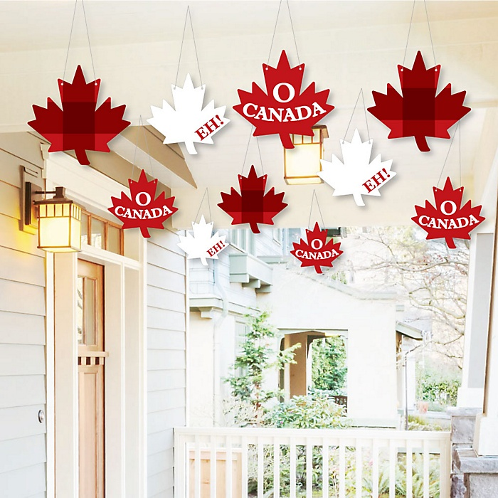 Hanging Canada Day - Outdoor Canadian Party Hanging Porch & Tree Yard Decorations - 10 Pieces