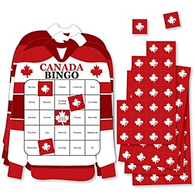 Canada Day - Bar Bingo Cards and Markers - Canadian Party Shaped Bingo Game - Set of 18