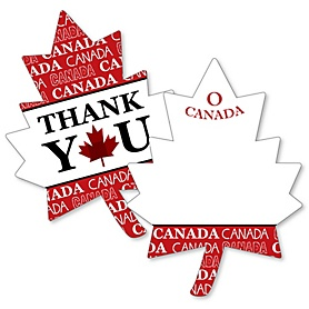 Canada Day - Shaped Thank You Cards - Canadian Party Thank You Note Cards with Envelopes - Set of 12