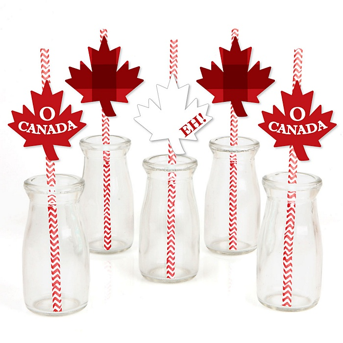Canada Day - Paper Straw Decor - Canadian Party Striped Decorative Straws - Set of 24