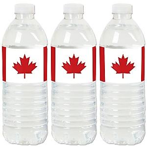 Canada Day - Canadian Party Water Bottle Sticker Labels - Set of 20