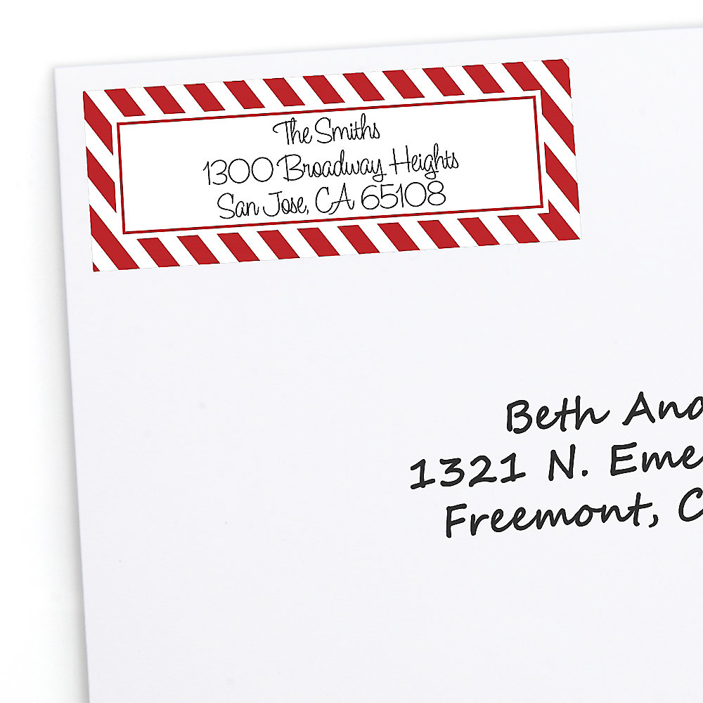Christmas Return Address Labels.Candy Cane 30 Personalized Holiday Return Address Labels