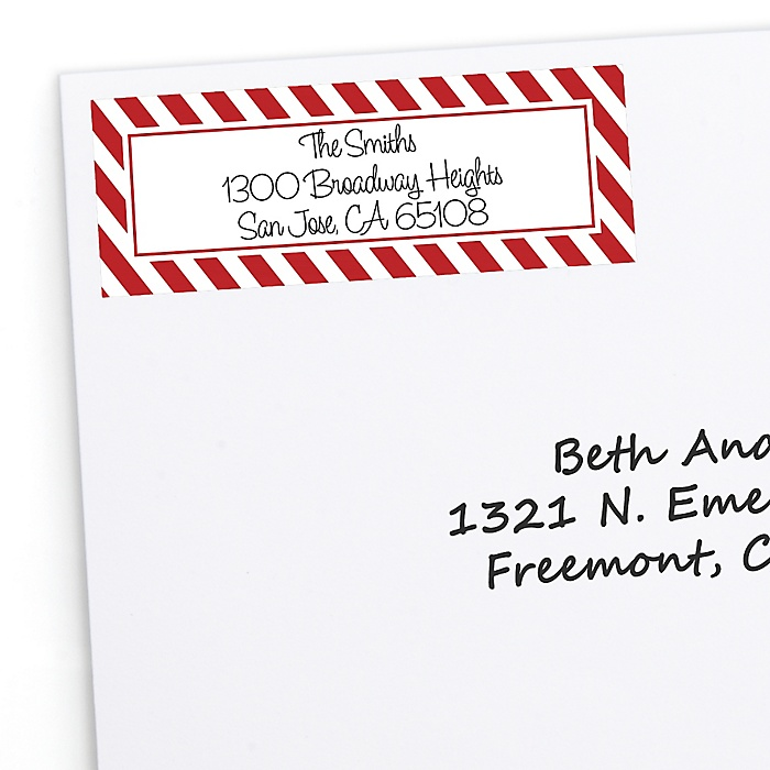 Candy Cane - 30 Personalized Holiday Return Address Labels