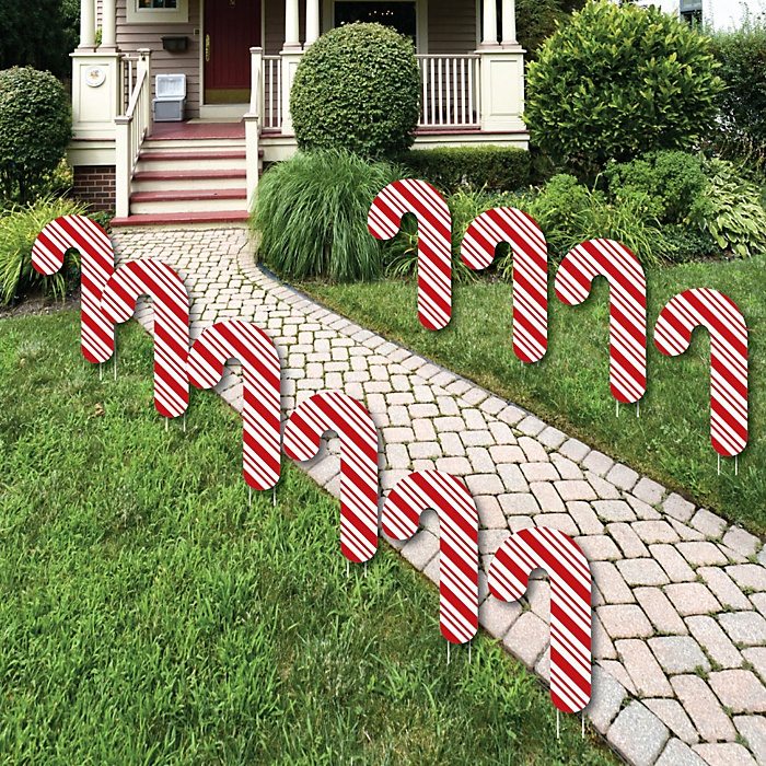 Candy Cane Lawn Decorations - Outdoor Holiday and Christmas Yard Decorations - 10 Piece