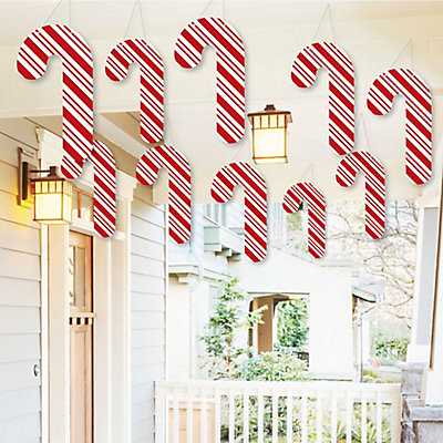 hanging candy cane outdoor holiday and christmas hanging porch tree yard decorations 10 pieces bigdotofhappinesscom - Candy Cane Christmas Yard Decorations