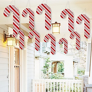 Hanging Candy Cane - Outdoor Holiday and Christmas Hanging Porch & Tree Yard Decorations - 10 Pieces