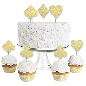 Gold Glitter Card Suits - No-Mess Real Gold Glitter Dessert Cupcake Toppers - Las Vegas and Casino Party Clear Treat Picks - Set of 24