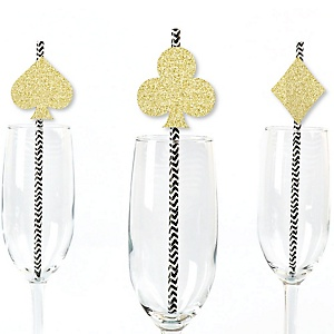 Gold Glitter Card Suits Party Straws - No-Mess Real Gold Glitter Cut-Outs and Decorative Las Vegas and Casino Party Paper Straws - Set of 24