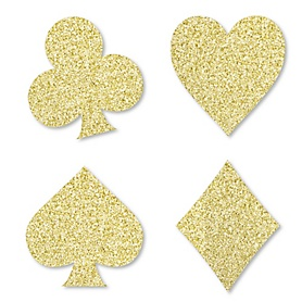 Gold Glitter Card Suits - No-Mess Real Gold Glitter Cut-Outs - Las Vegas and Casino Party Confetti - Set of 24