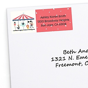 Circus / Carnival - Cirque du Bebe - Personalized Baby Shower Return Address Labels - 30 ct