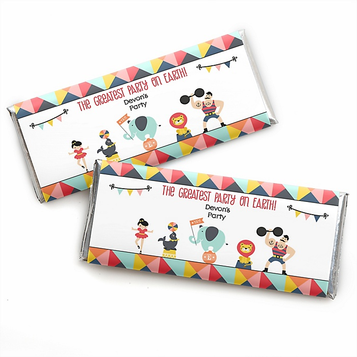 Carnival - Cirque du Soirée - Personalized Candy Bar Wrapper Baby Shower or Birthday Party Favors - Set of 24