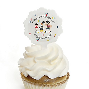Carnival - Cirque du Bebe - 12 Cupcake Picks & 24 Personalized Stickers - Baby Shower or Birthday Party Cupcake Toppers