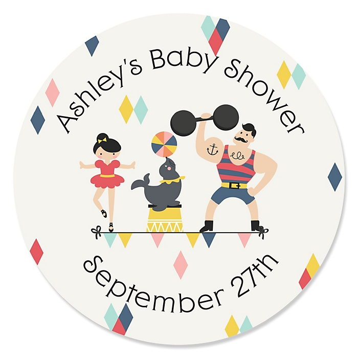 Carnival - Cirque du Bebe - Personalized Baby Shower Sticker Labels - 24 ct