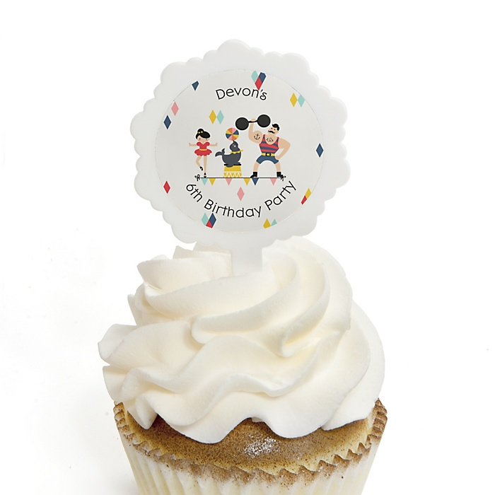 Carnival - Cirque du Soirée - Personalized Birthday Party Cupcake Pick and Sticker Kit - 12 ct